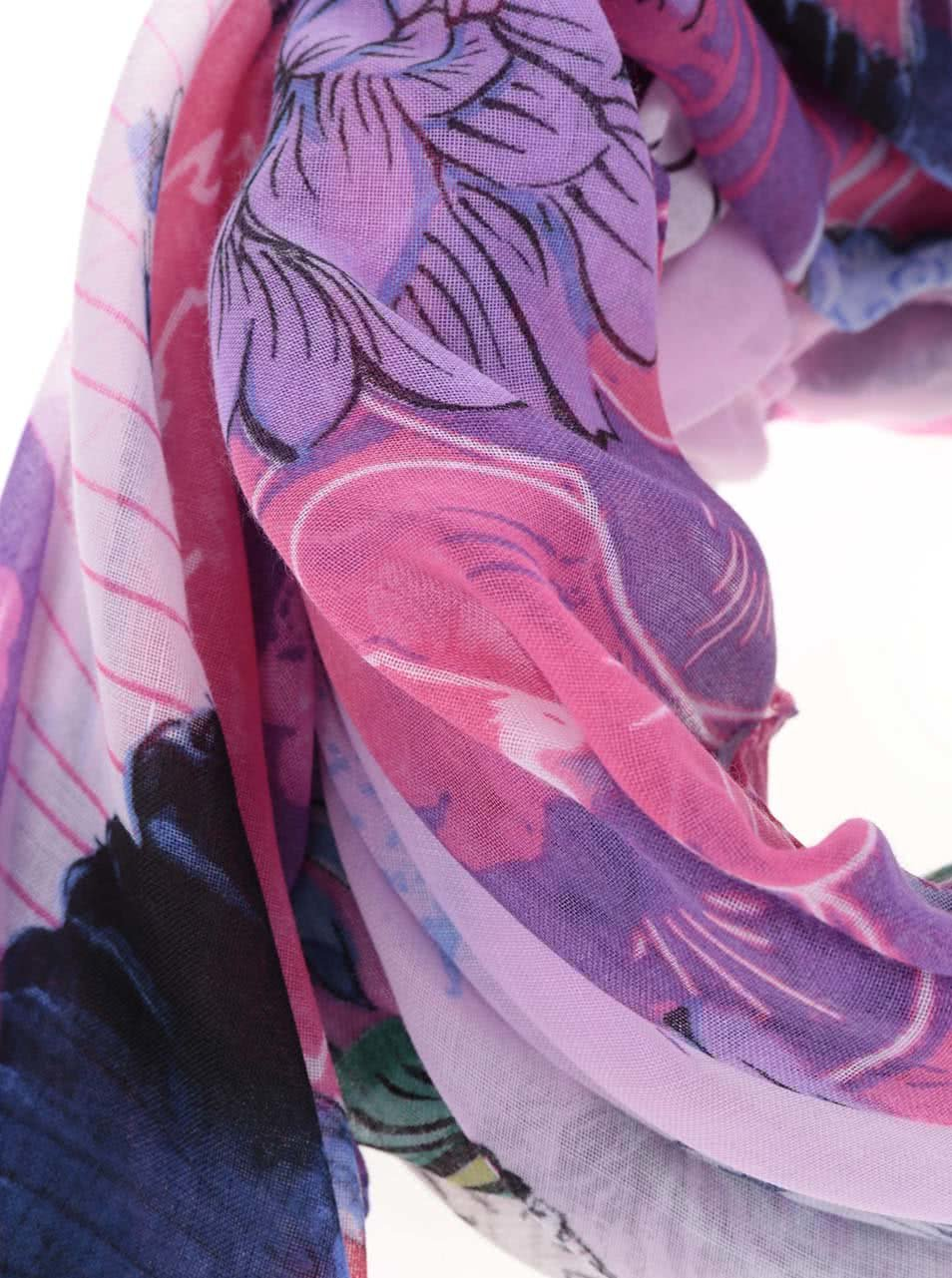 Fuksiová vzorovaná šatka Desigual Rectangle ... 67e41a31d3c