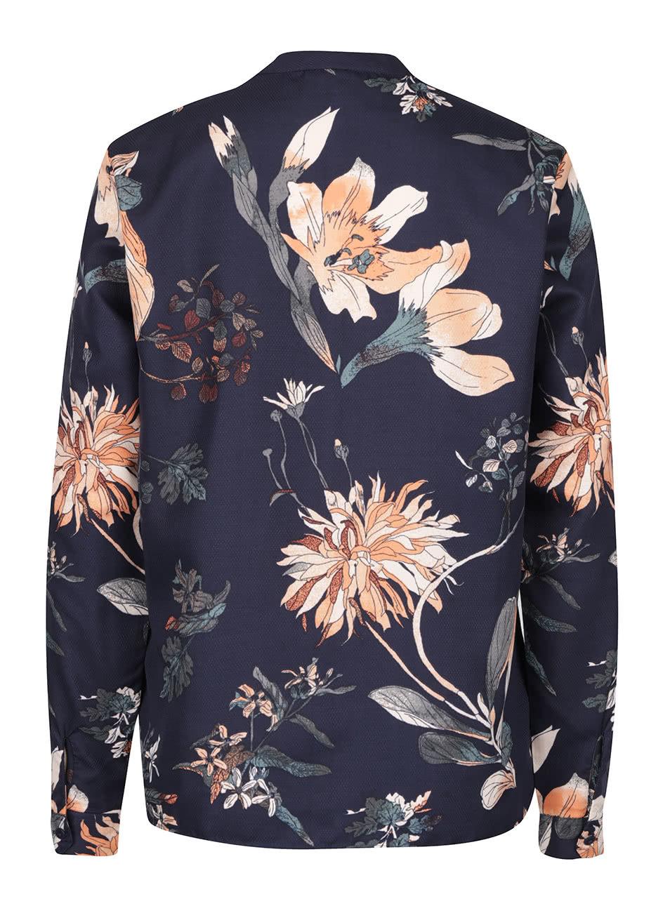 44a922d066 Tmavomodrá kvetinová blúzka s dlhým rukávom VERO MODA Fallon ...