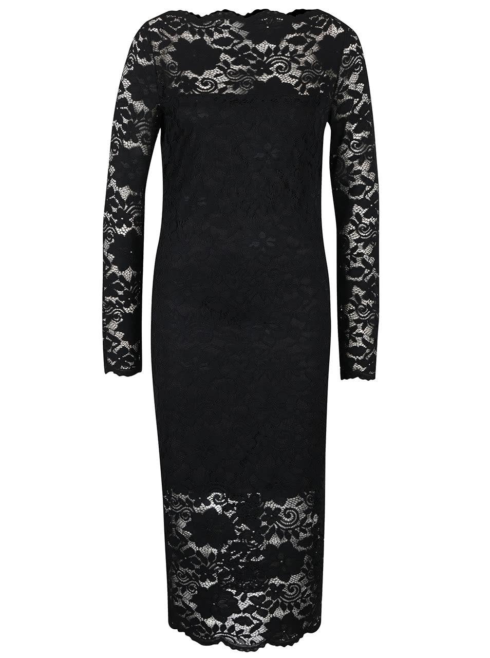 a21d7743390 Černé krajkové šaty s dlouhým rukávem VILA Grit ...