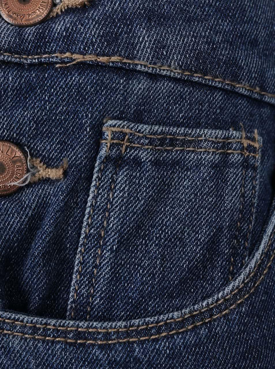 f4de95167bf Modré džínové lacláče s potrhaným efektem ONLY Kim ...