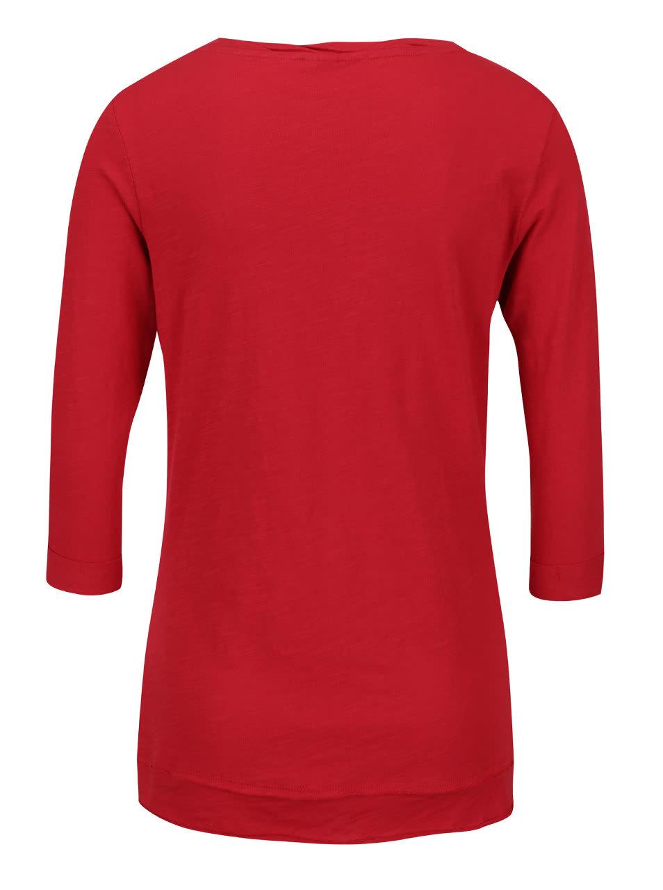 c53d6956af585 Červené dámske tričko s potlačou a 3/4 rukávmi QS by s. Oliver   ZOOT.sk