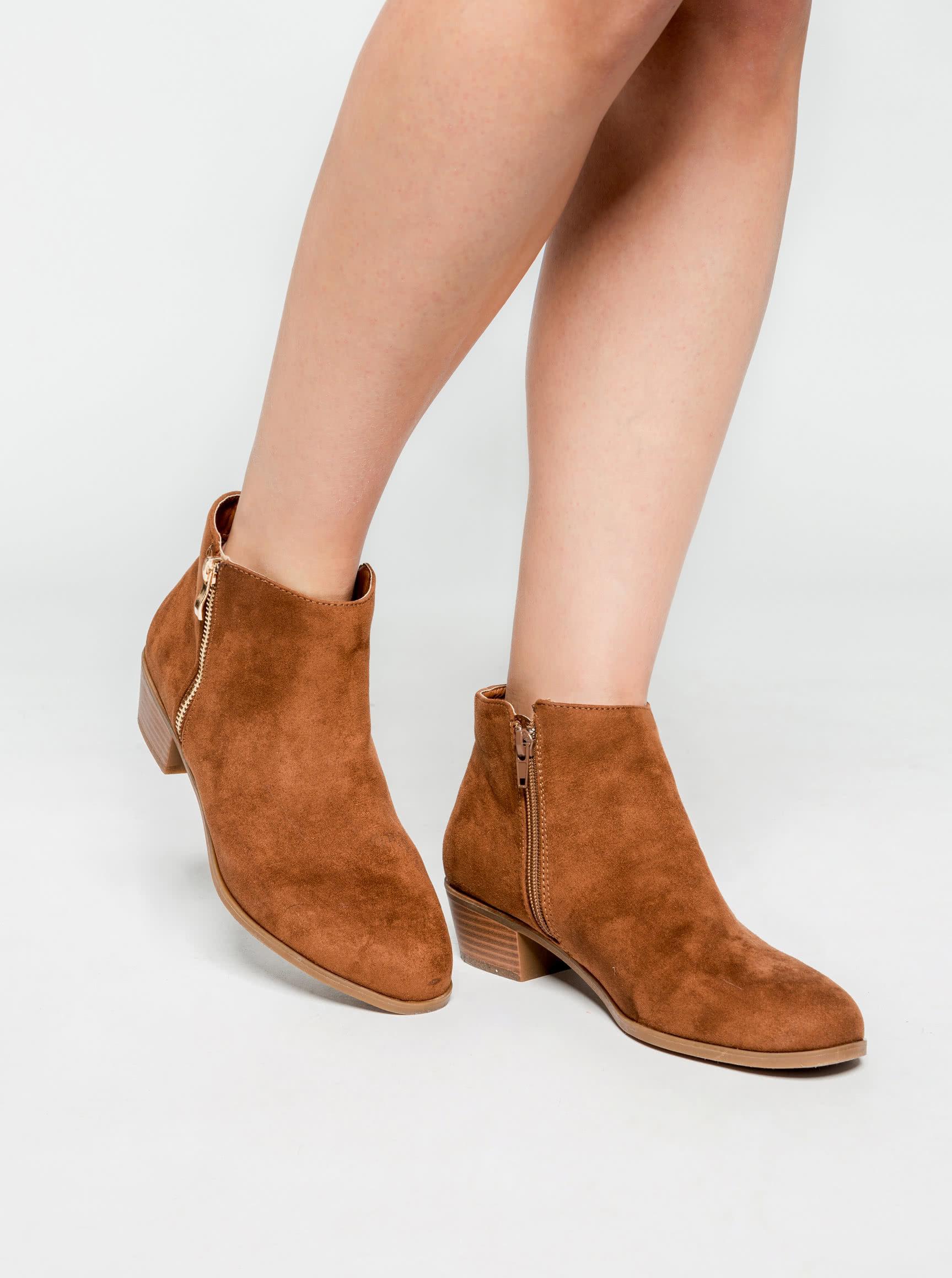 0b4980fdb6 Hnedé členkové topánky v semišovej úprave Dorothy Perkins ...