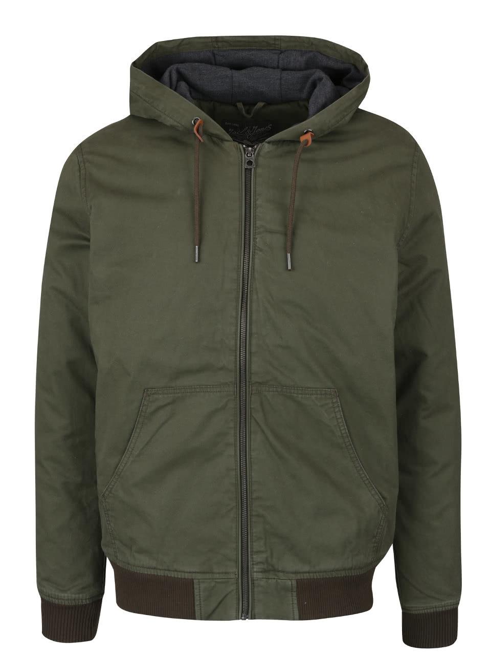 6296c1d8b90 Tmavě zelená bunda s kapucí Jack   Jones High ...