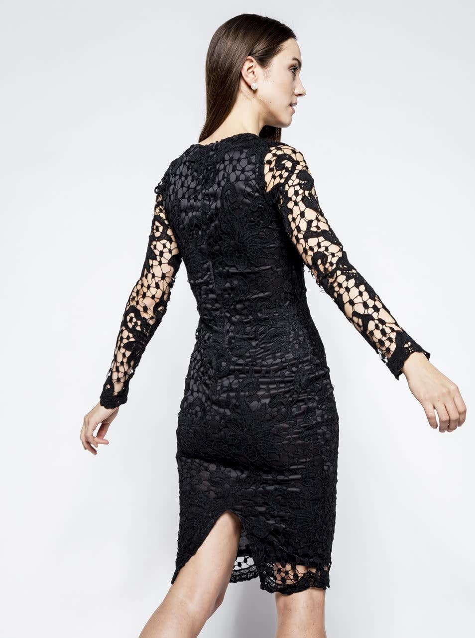 8daeb9a1bdb Černé krajkové šaty s dlouhým rukávem AX Paris ...