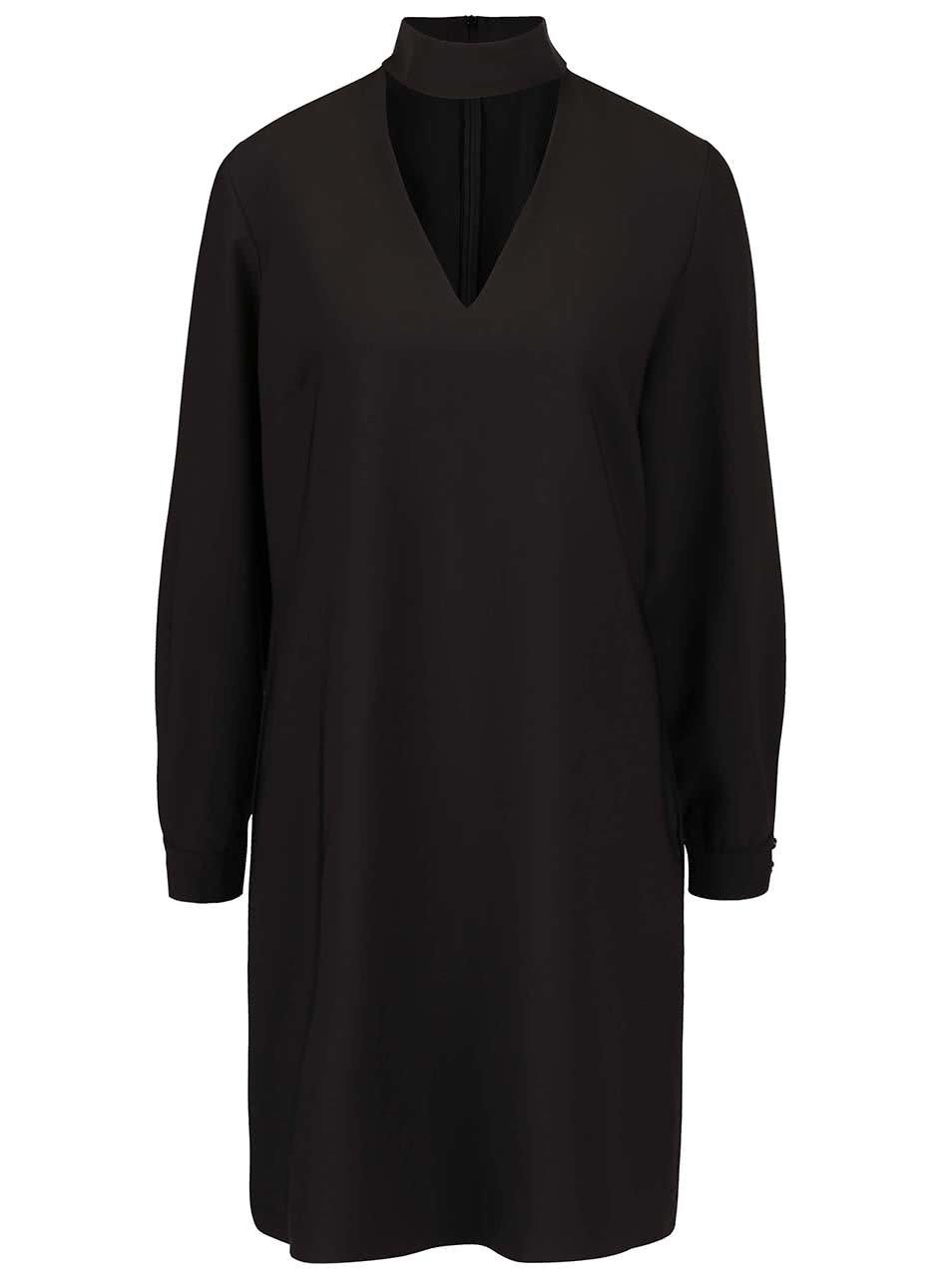 Čierne šaty so stojatým golierom Closet ... b786547f28b