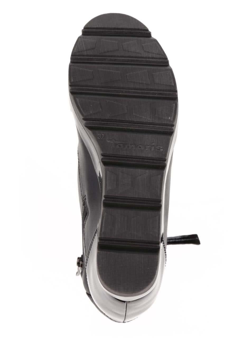 6cec4b96a91a Čierne členkové tenisky na platforme s lesklými a semišovými detailmi  Tamaris ...