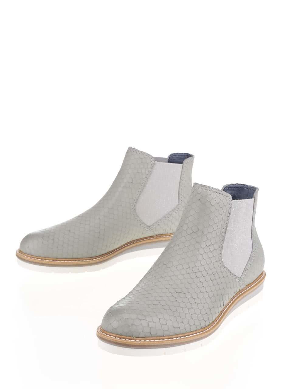 59f74c22f67d Svetlosivé kožené vzorované chelsea topánky Tamaris ...