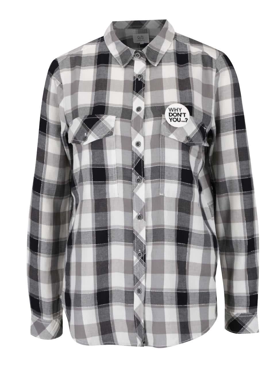 5b3564e7fd45 Čierno-biela kockovaná dámska košeľa QS by s. Oliver