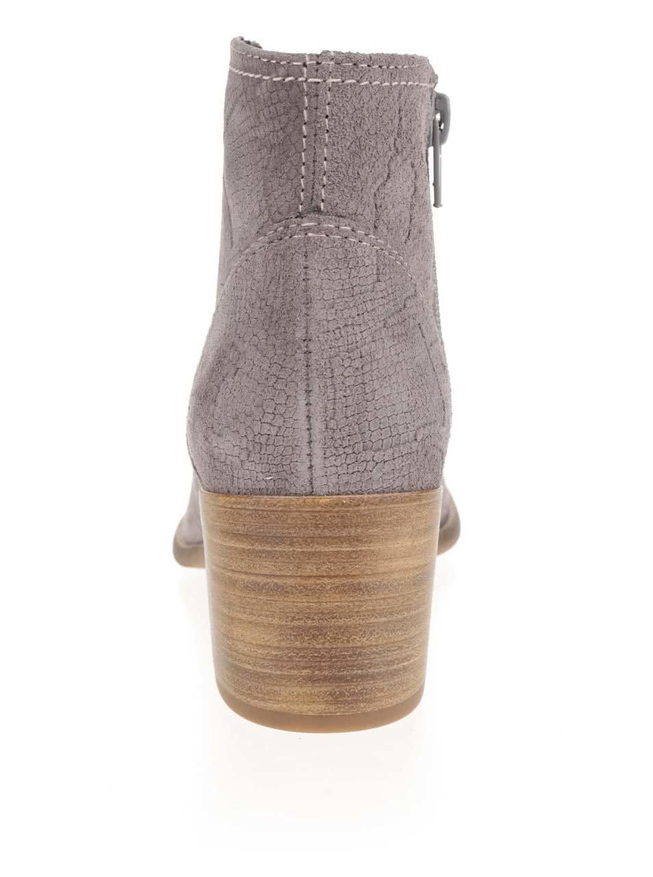 d9368b0fe176d Sivé semišové vzorované členkové topánky na podpätku Tamaris | ZOOT.sk