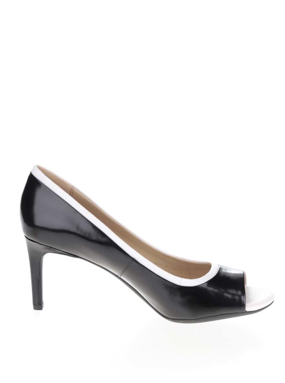1c36ddfae8 Čierno-biele dámske kožené topánky na podpätku Geox Audie ...