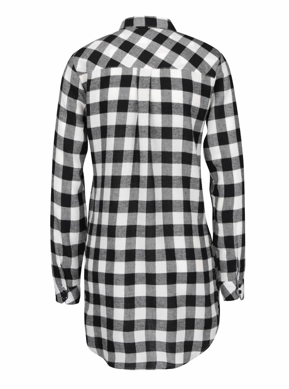 a46c654c6460 Čierno-biela dlhá kockovaná košeľa s nášivkou TALLY WEiJL ...
