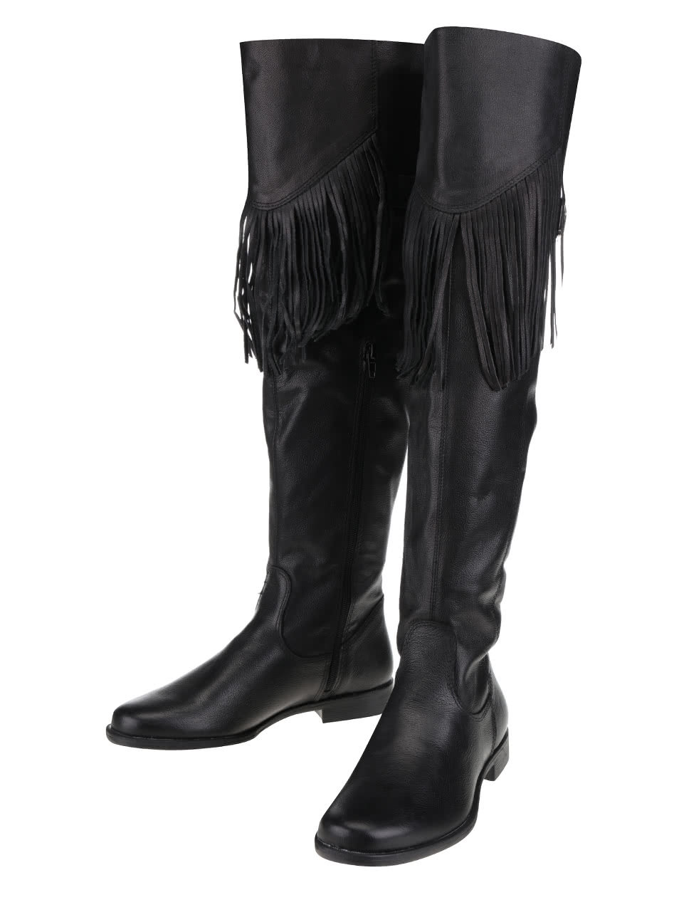 ac182bb05437 Čierne kožené čižmy so strapcami Tamaris ...