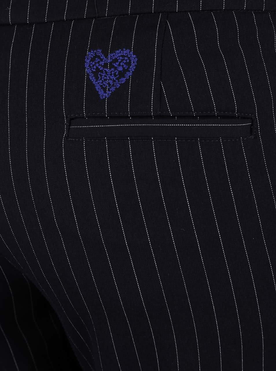Čierne skrátené nohavice s pruhmi Desigual Black ... f6c3322099f