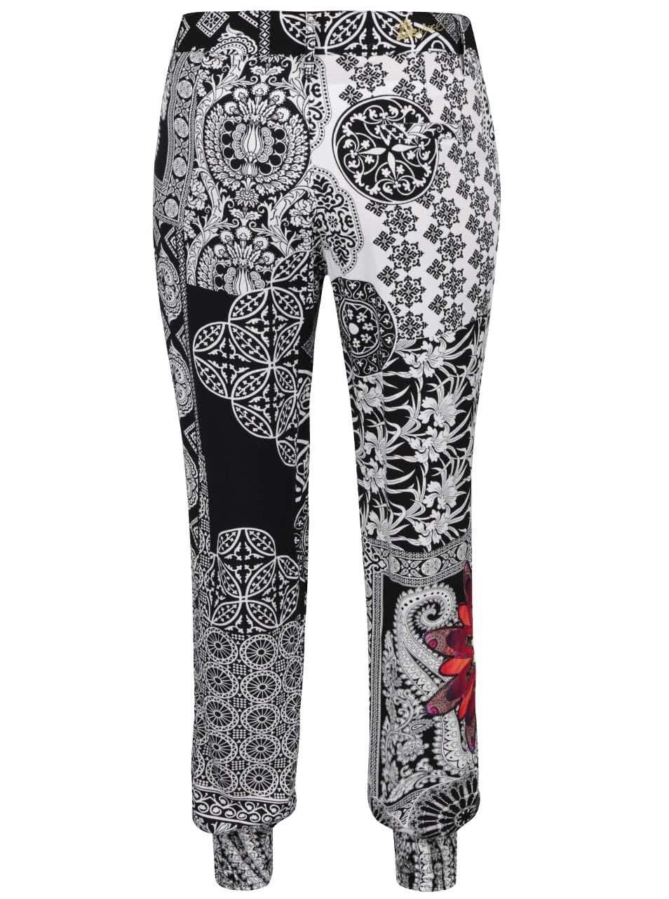 42c550c408fc Čierno-biele vzorované nohavice Desigual Olass ...