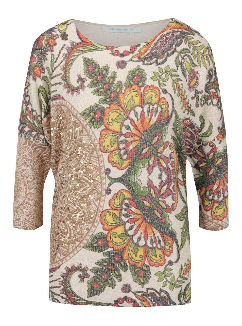 5e6219237ed3 Béžový vzorovaný sveter s flitrami a netopierími rukávmi Desigual Varlkiria  Full ...