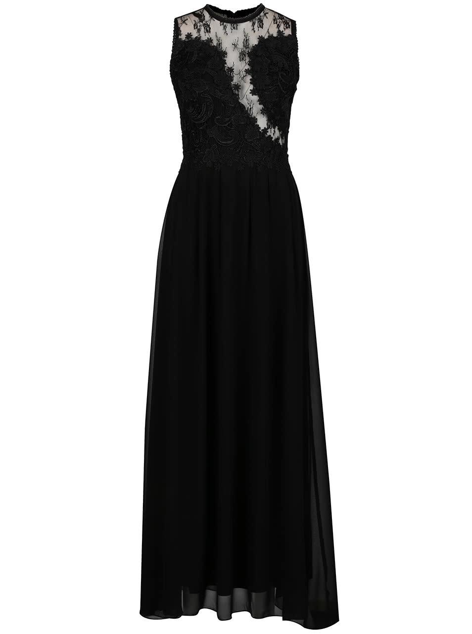 Černé dlouhé šaty s krajkovou horní částí a průsvitnými detaily AX Paris ... 3bc0fbe7d3