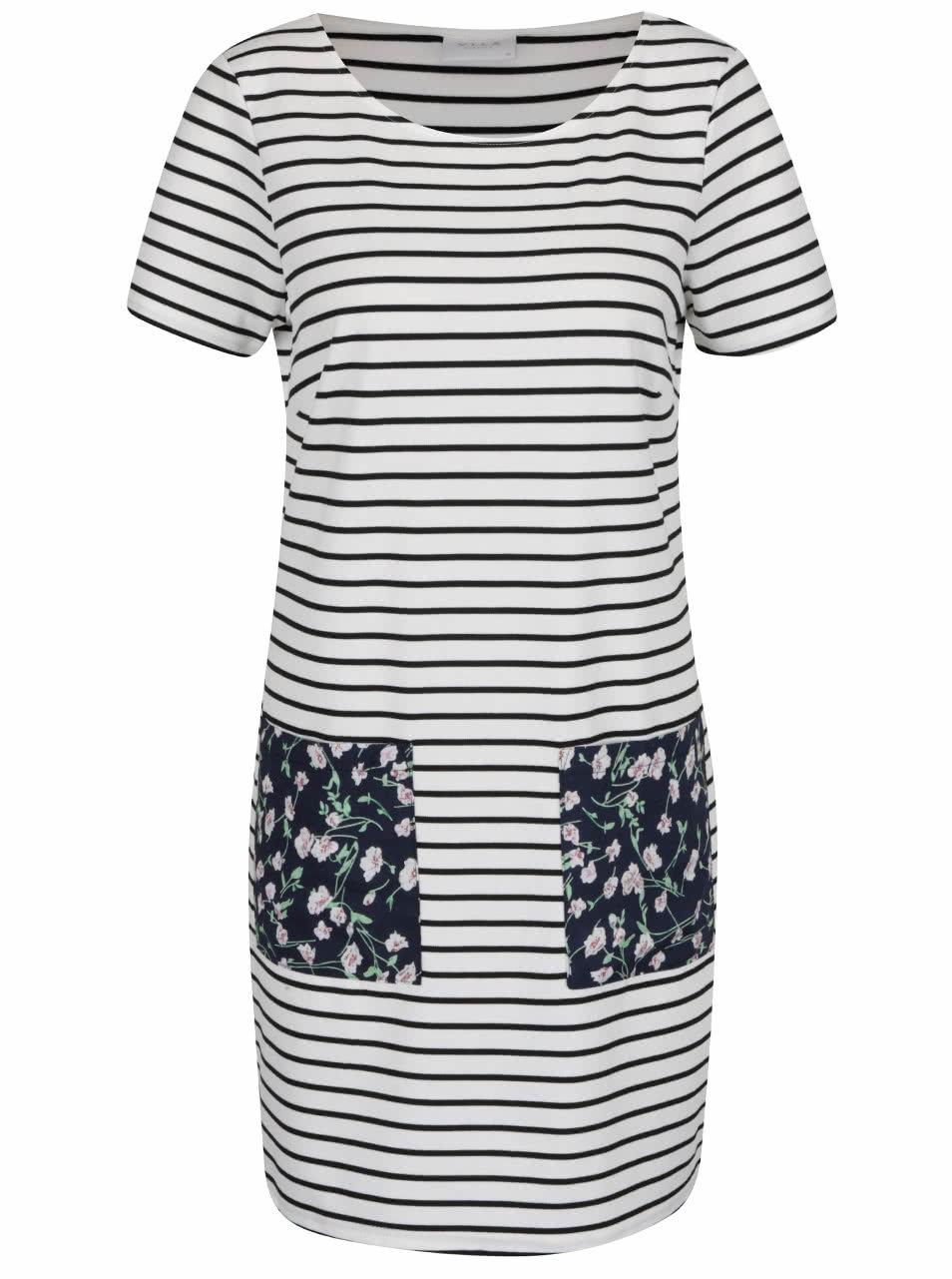 Modro-biele voľné pruhované šaty s vreckami VILA Tinny ... d9b45698d3b
