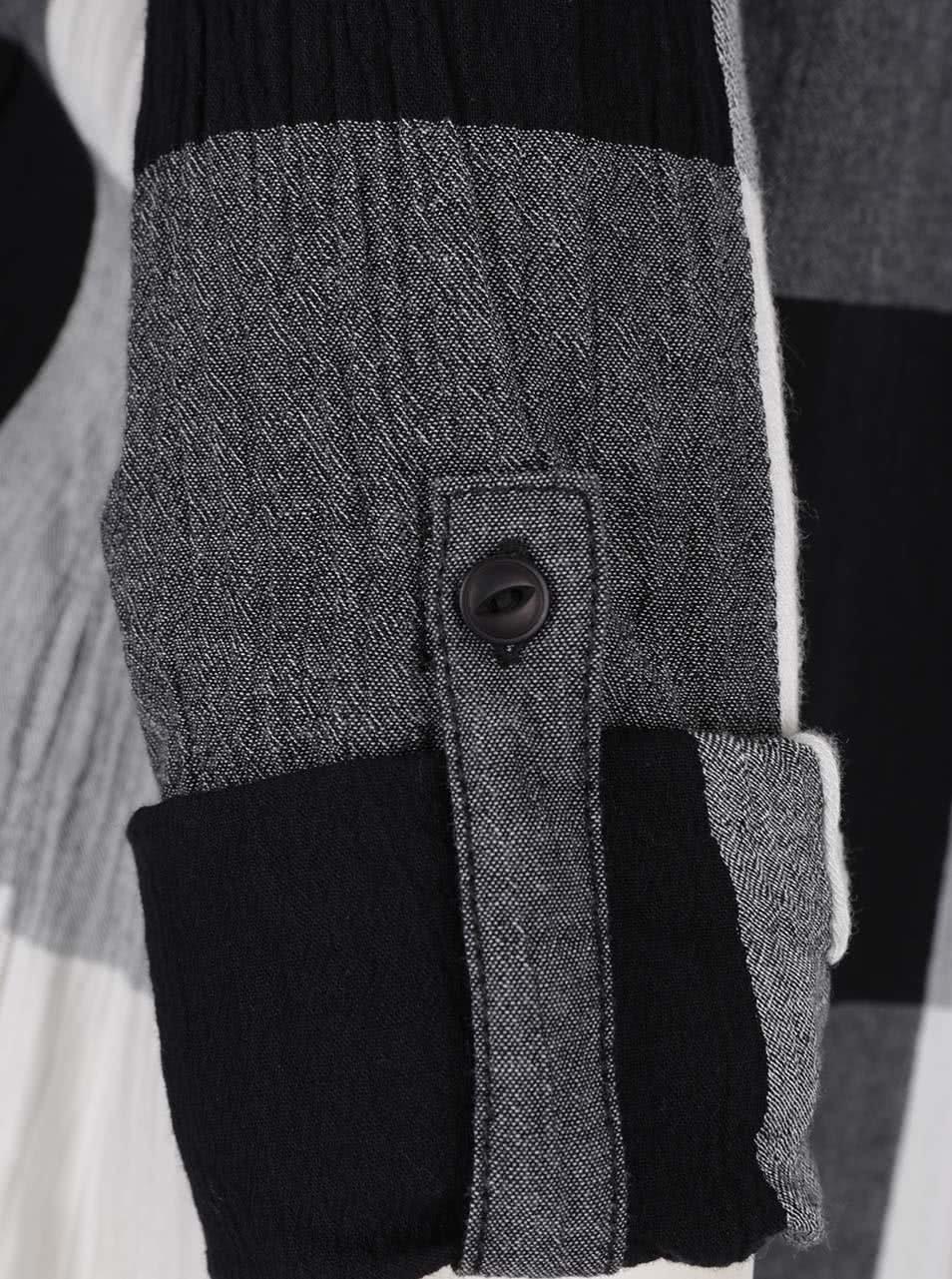 0a5829b19e06 Krémovo-sivá dlhá dámska kockovaná košeľa s.Oliver ...