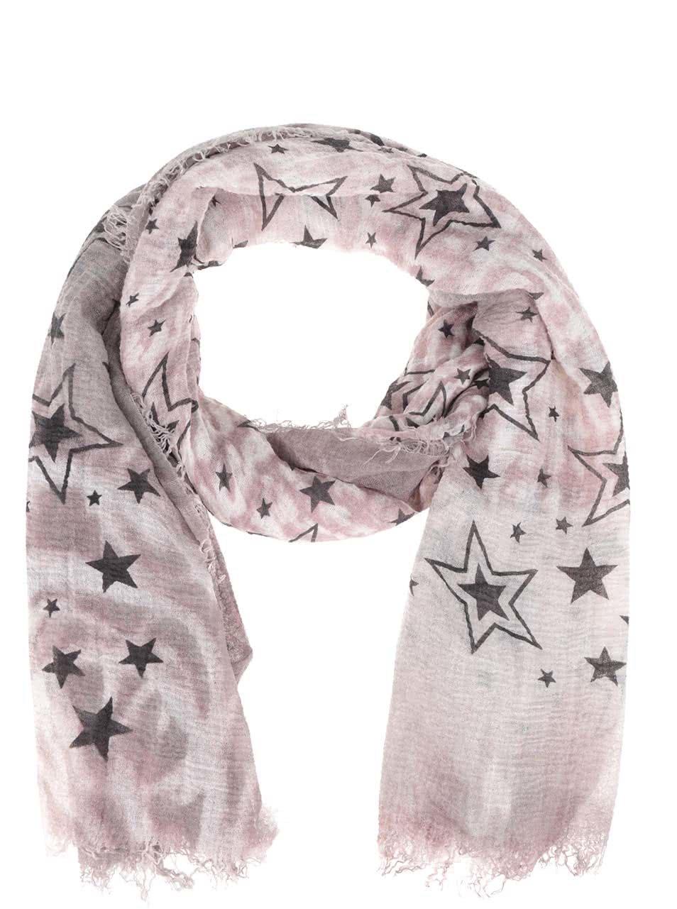 78ab8c9ca345 Sivo-ružová šatka s motívom hviezd Haily s Estefania ...