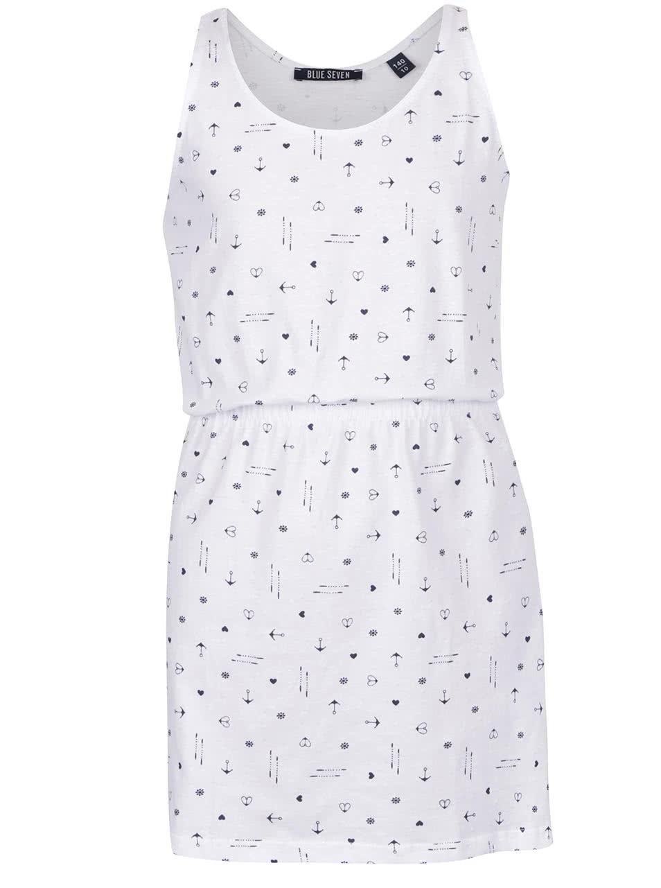 4bb408367019 Biele vzorované dievčenské šaty Blue Seven ...