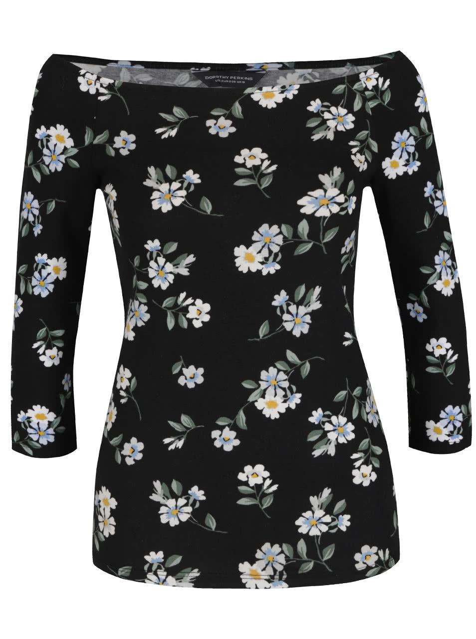 a71b15122f49 Čierne kvetované tričko s lodičkovým výstrihom Dorothy Perkins ...