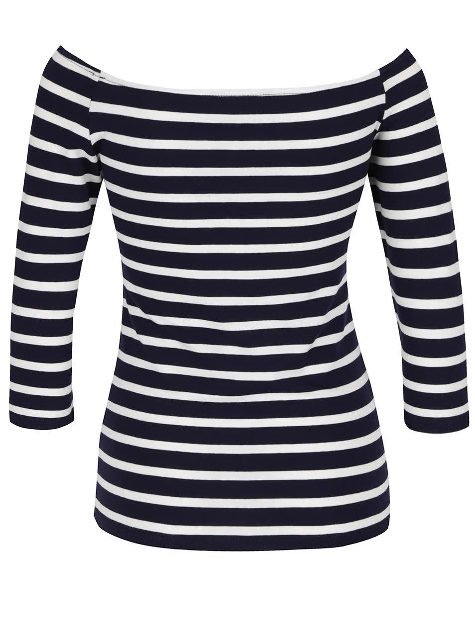 30276ae67b6a Tmavomodré pruhované tričko s lodičkovým výstrihom Dorothy Perkins ...