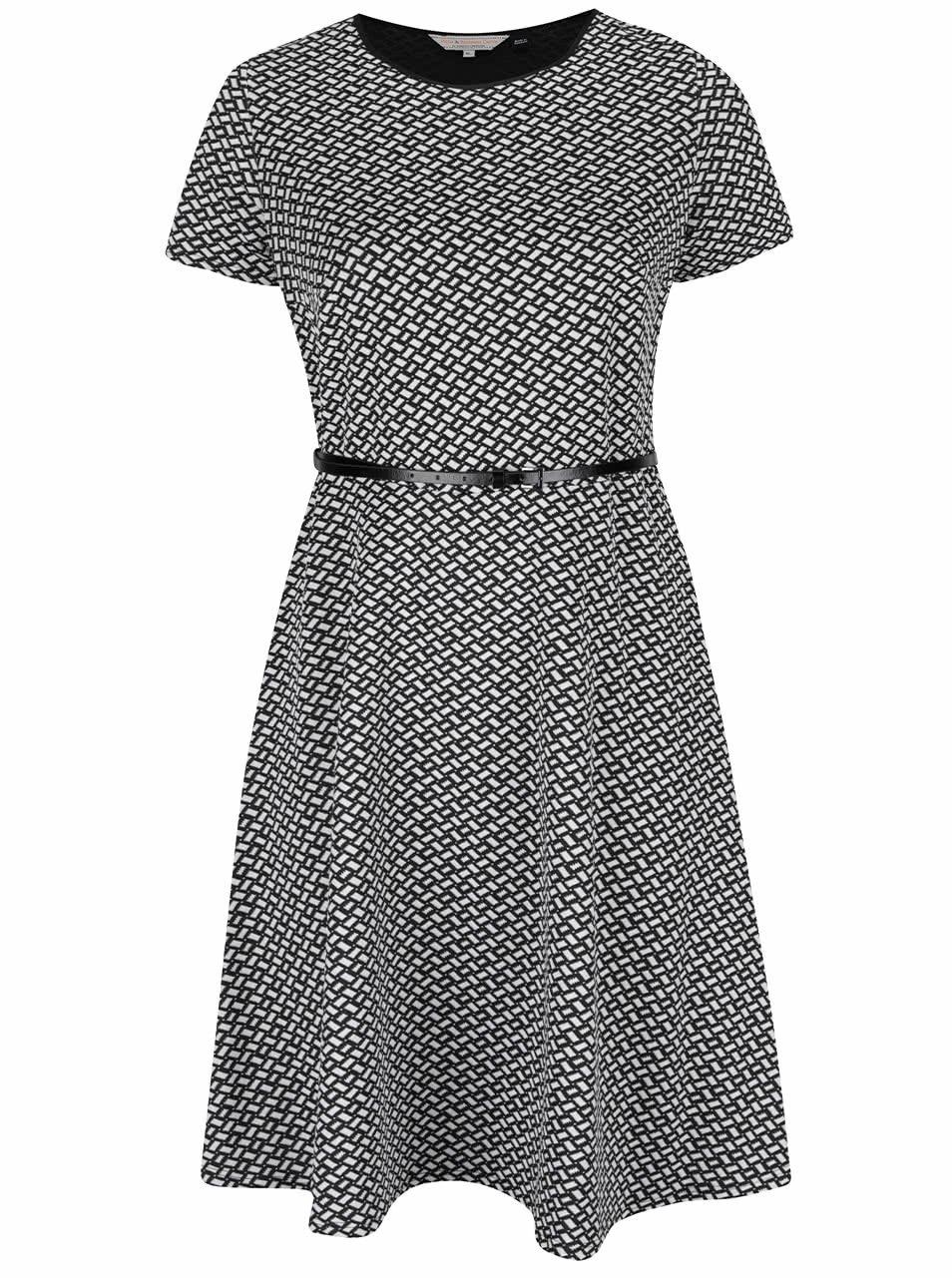 Čierno-biele vzorované šaty s jemným opaskom Dorothy Perkins Curve ... beee60fed11