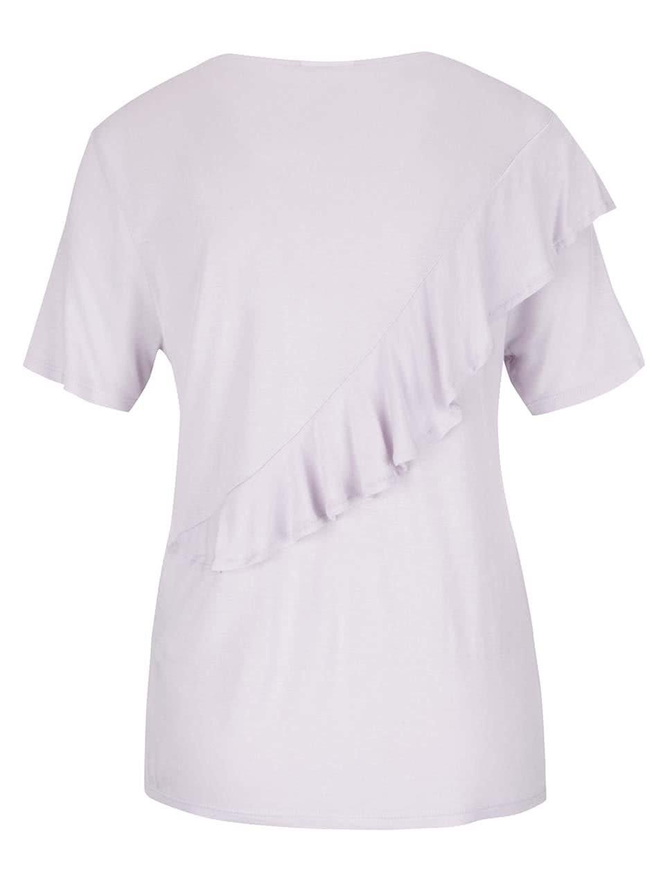 5817221dd660 Svetlofialové tričko s volánom Noisy May Freddy ...