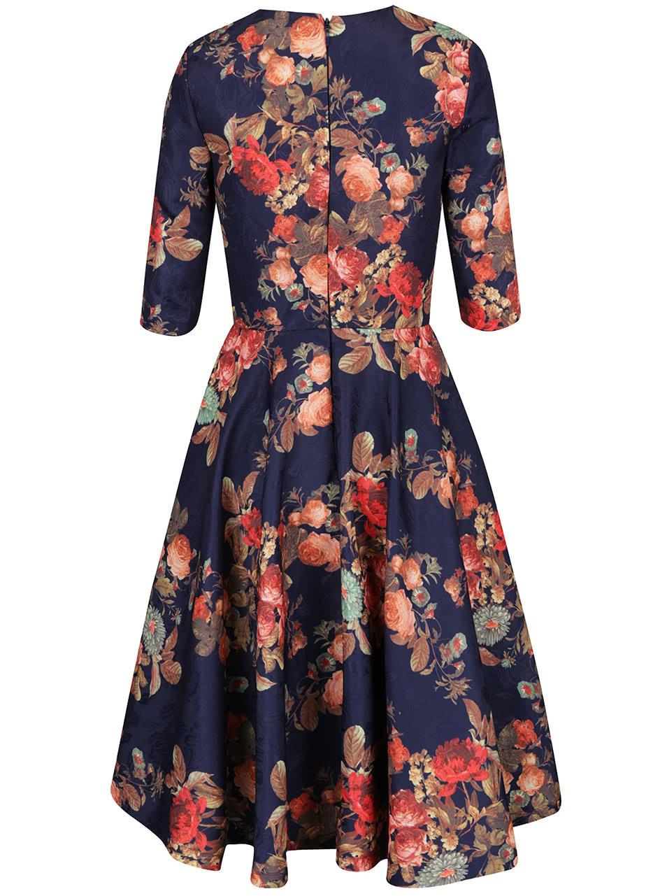 Tmavomodré kvetované midi šaty s 3 4 rukávmi Chi Chi London Megan ... 55dfe19391d