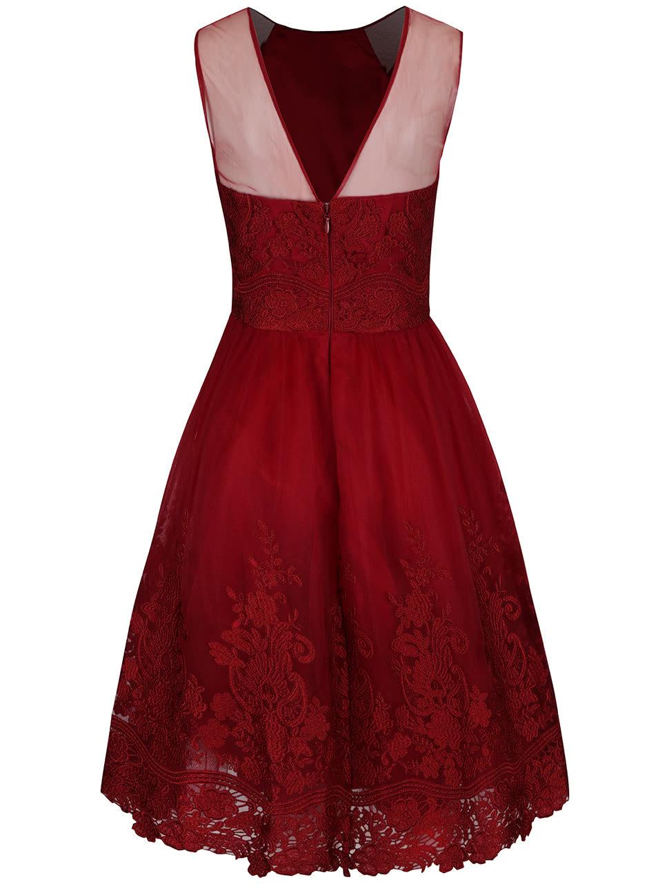 Červené čipkované šaty bez rukávov Chi Chi London Leona ... ee4dc0ac9b3