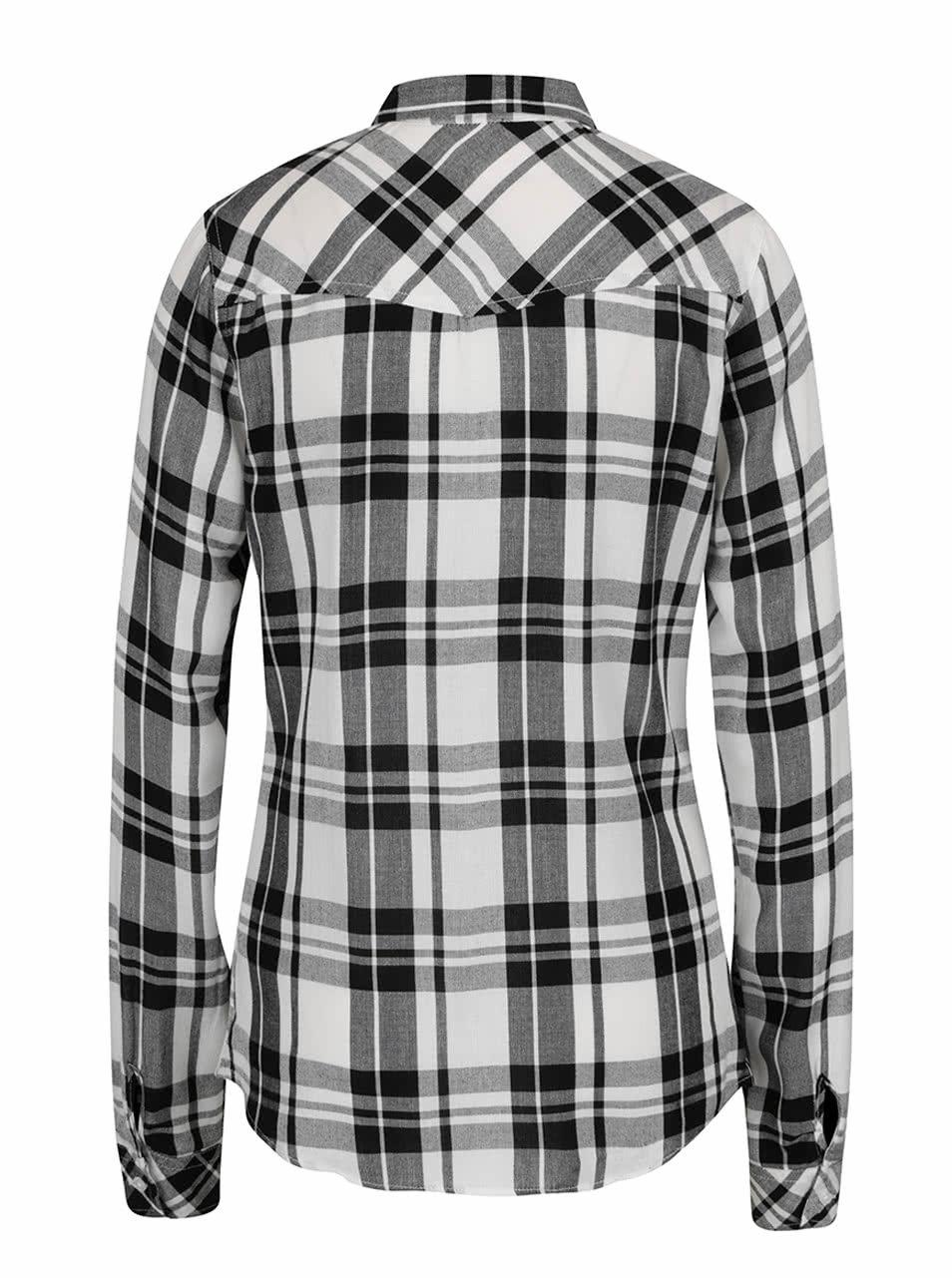 d632c49a7089 Čierno-biela károvaná košeľa s vreckami TALLY WEiJL ...