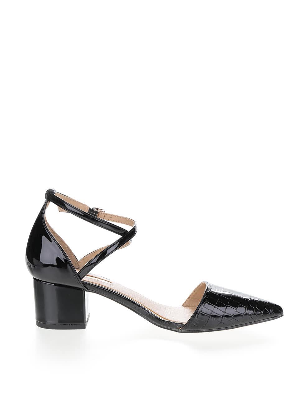ca72b8a6459c Čierne dámske lesklé topánky na podpätku Miss KG ...