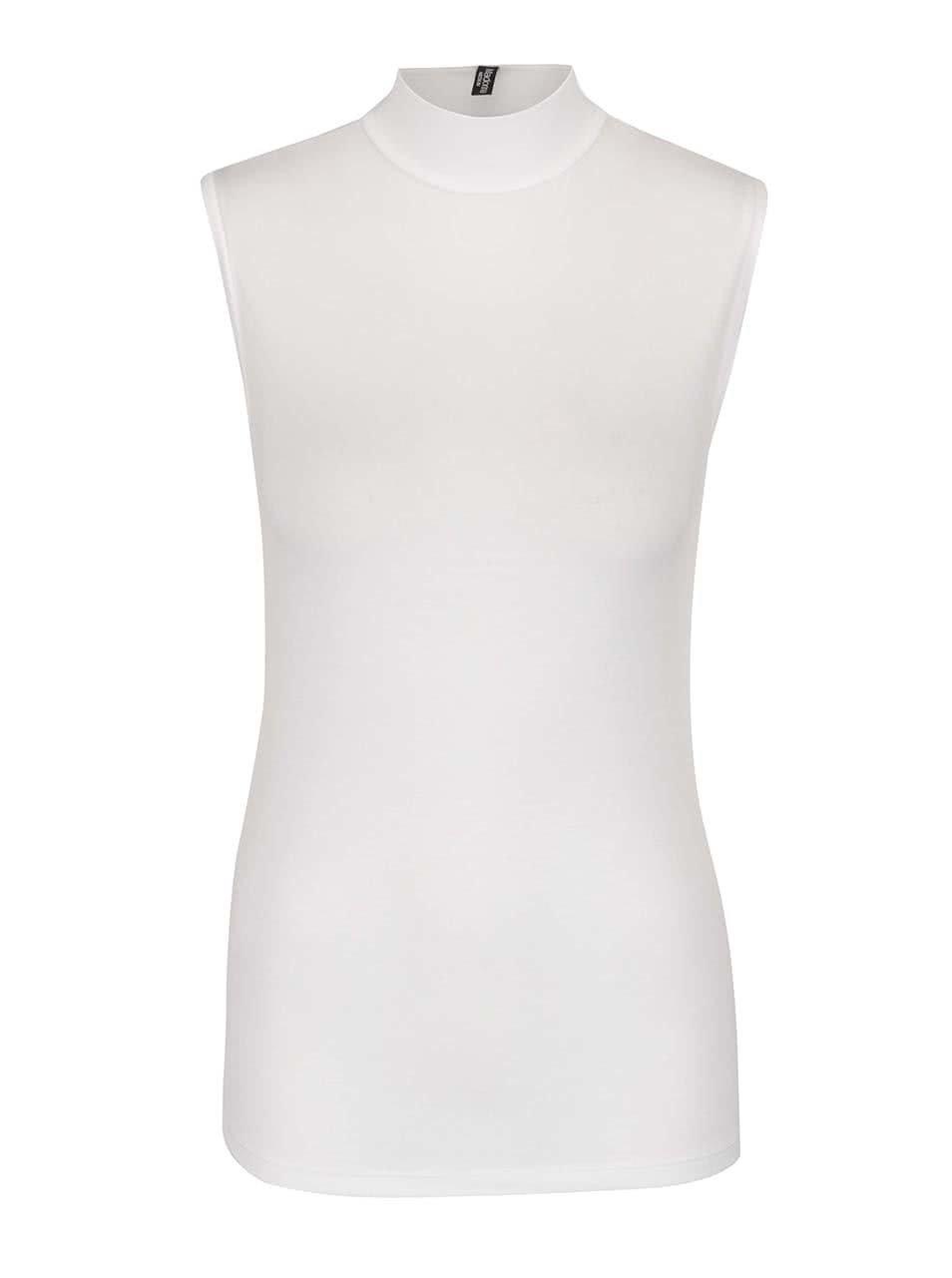 Biely top bez rukávov s nízkym rolákom Madonna Katrin ... 2a4c7851ee3