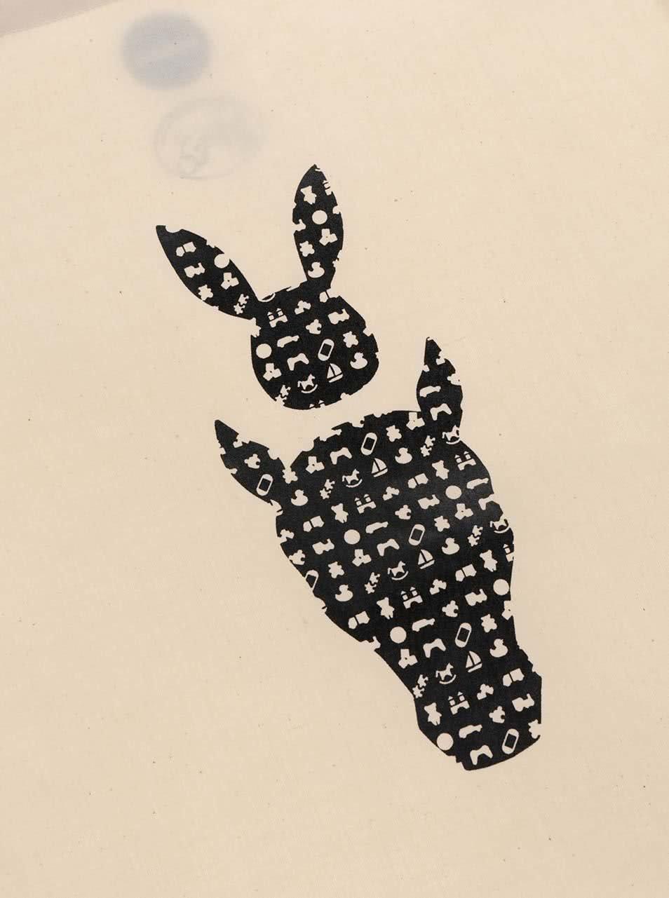 """""""Dobrá"""" krémová plátěná taška pro Zajíčka na koni"""