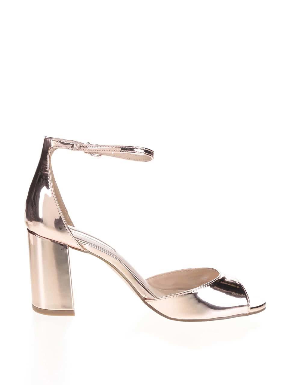 Metalické topánky na podpätku v ružovo-zlatej farbe Miss KG ... 36fa2442316