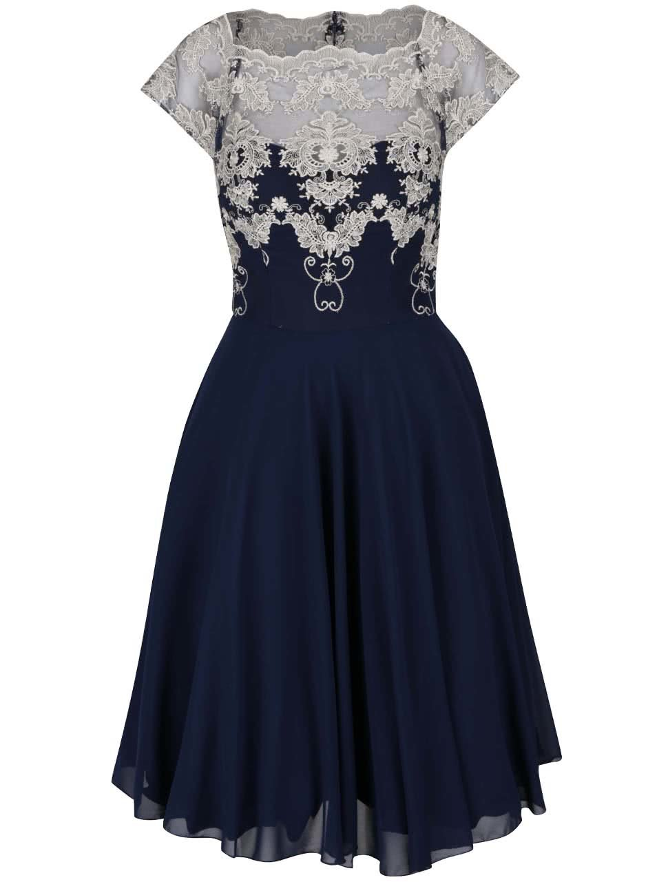 87cac108707 Tmavě modré šaty s krajkou ve zlaté barvě Chi Chi London Riri ...