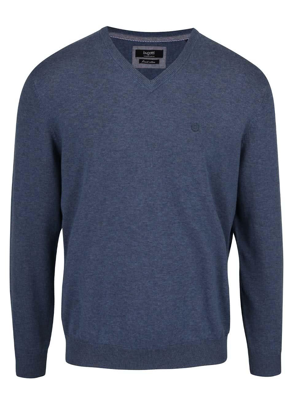 Modrý žíhaný pánský svetr bugatti ... c081eb2a98