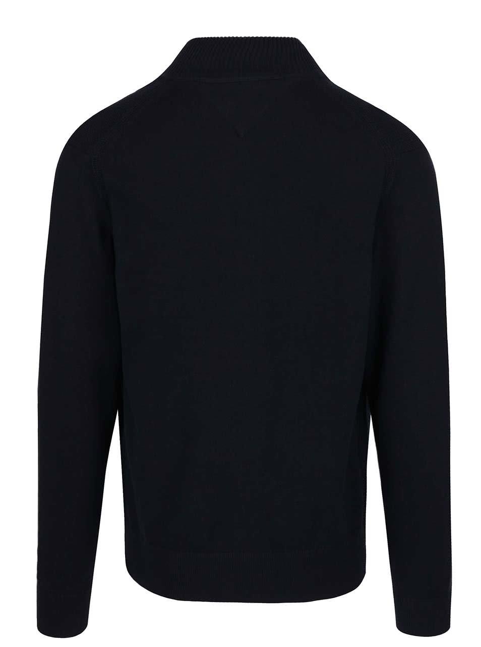 Tmavě modrý pánský svetr na zip Tommy Hilfiger ... 0af0ebca74