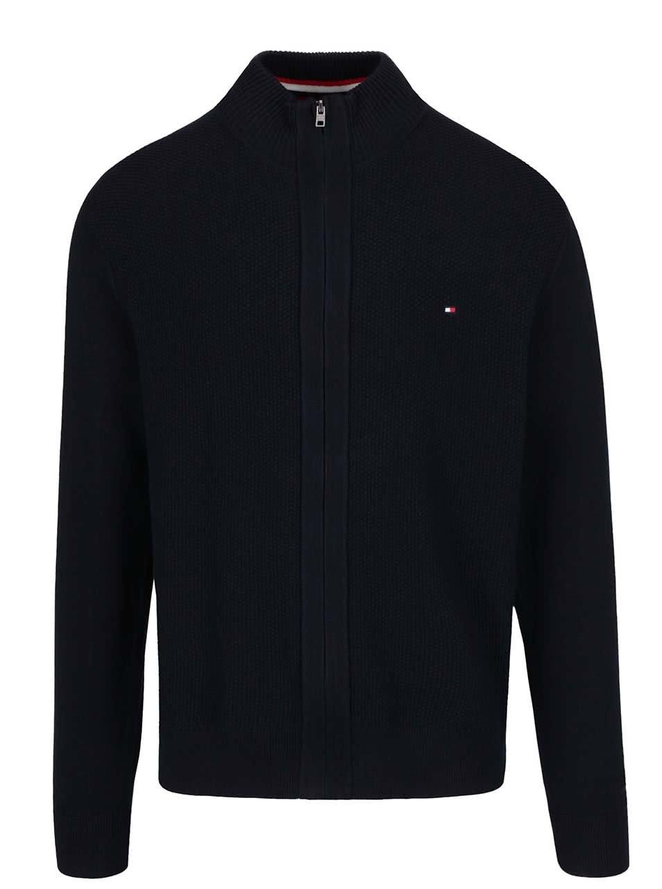05761e77d37 Tmavě modrý pánský svetr na zip Tommy Hilfiger ...