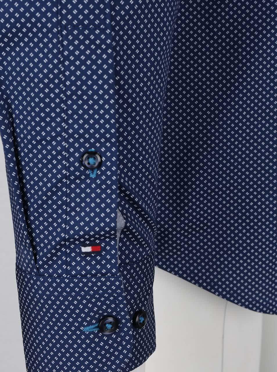 Bielo-modrá pánska vzorovaná slim fit košeľa Tommy Hilfiger ... 78745fdfc13