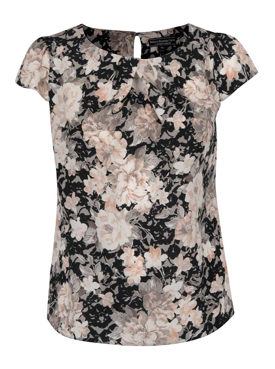 Krémovo-černý květovaný top Dorothy Perkins Curve ... 57ce3095c0