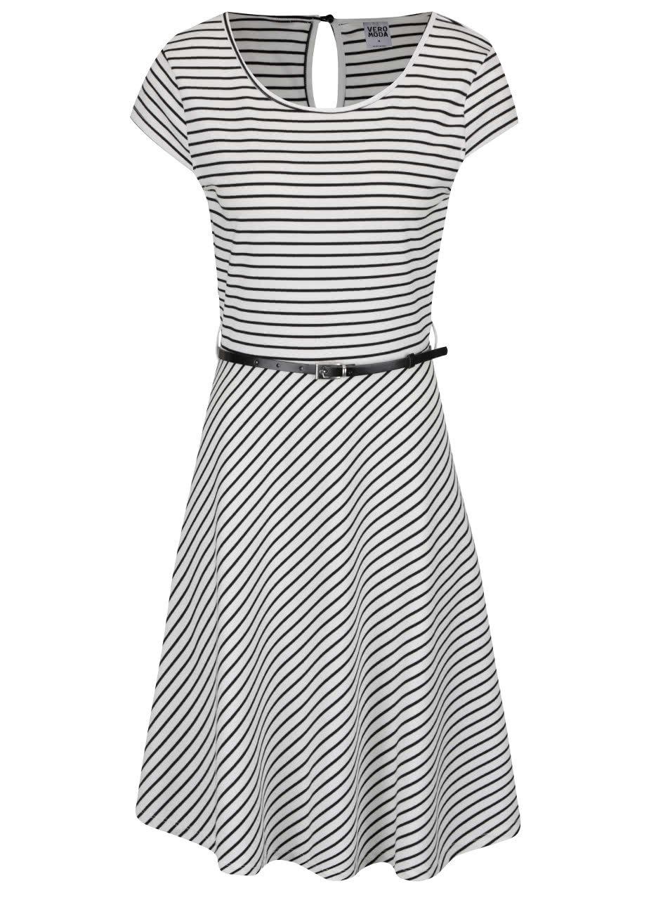 3b1e66c087 Čierno-biele pruhované šaty s opaskom VERO MODA Vigga ...
