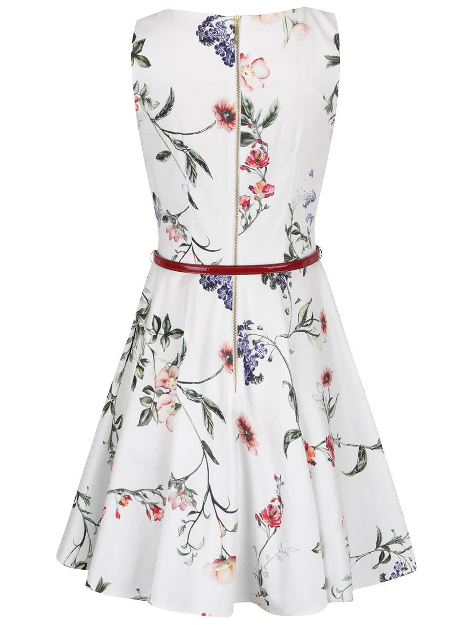 d3117e28fbab Krémové květované šaty s páskem Closet ...