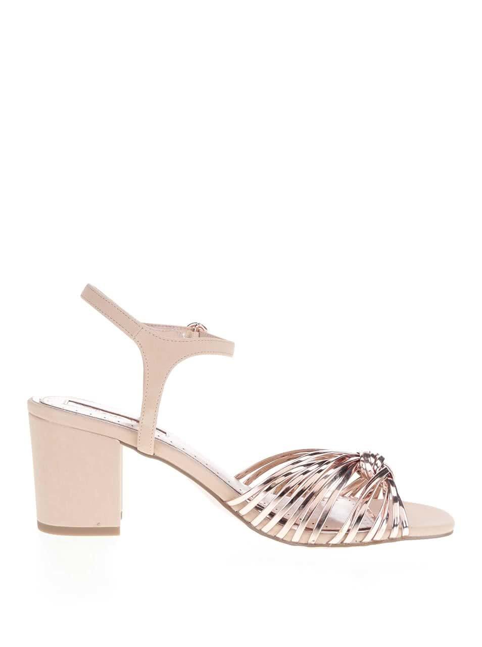 624626430f33 Starorůžové metalické sandálky na podpatku Miss KG ...