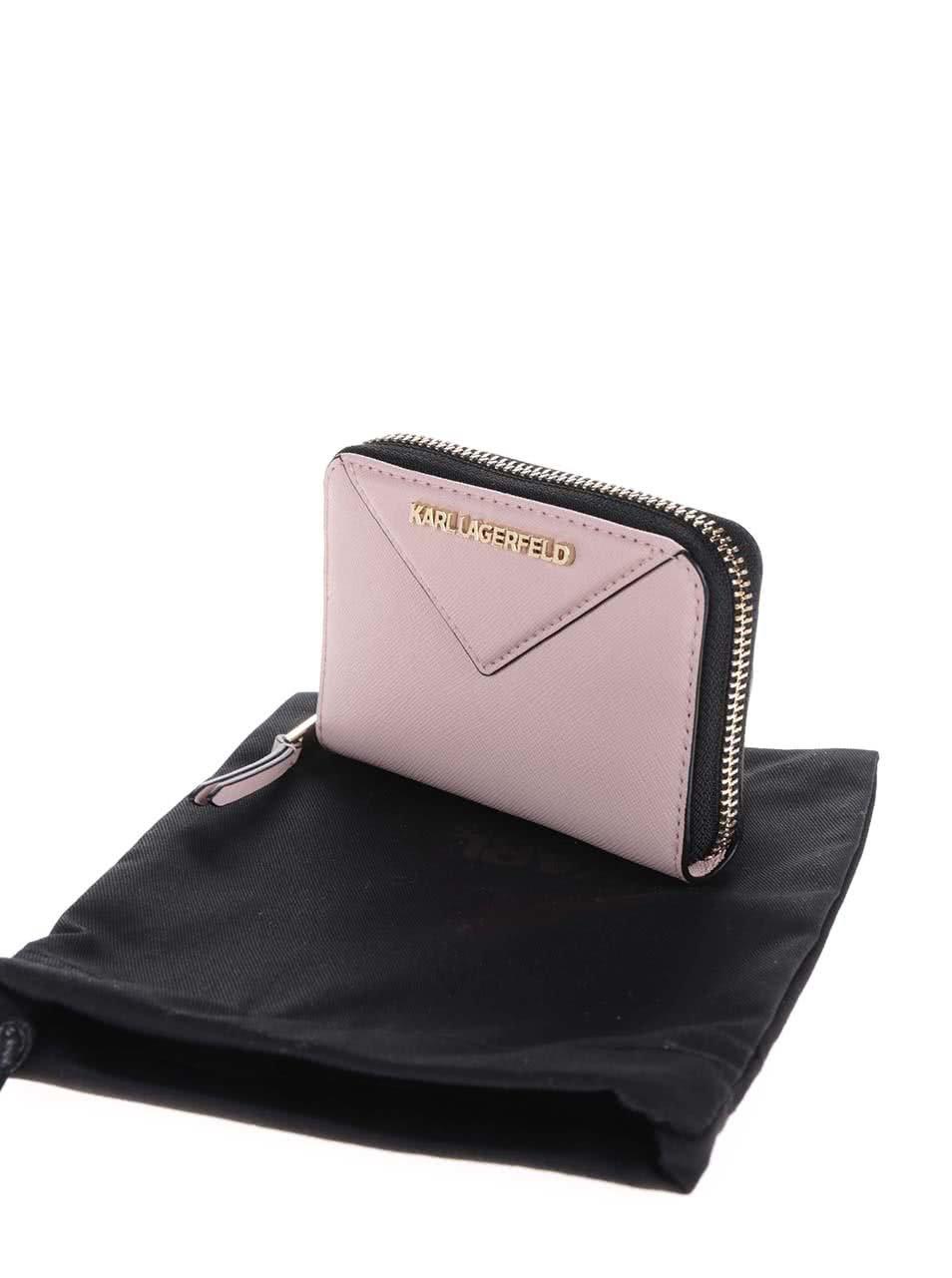 Svetloružová kožená peňaženka KARL LAGERFELD ... 1f4afd5910a