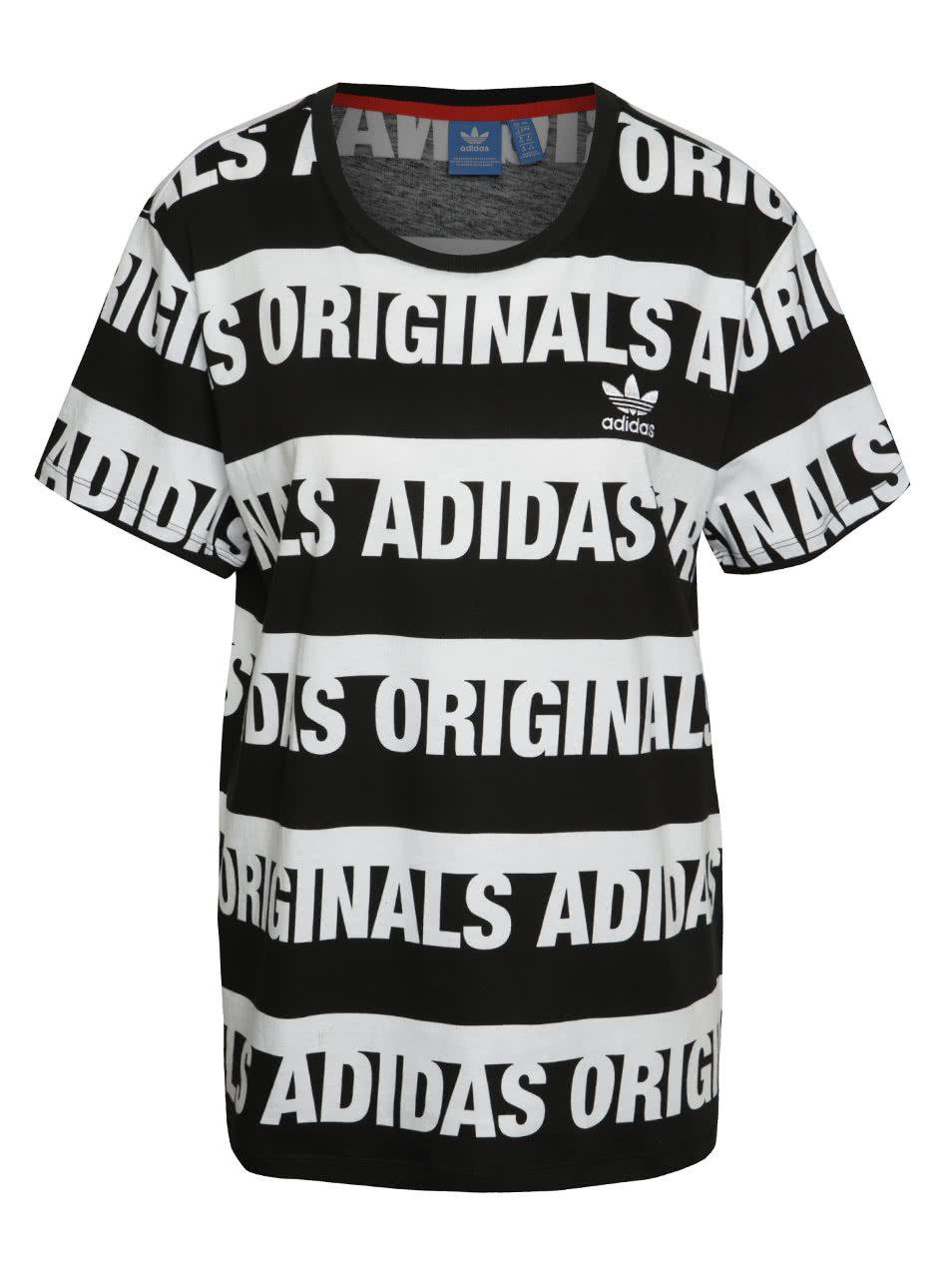 Bielo-čierne dámske tričko adidas Originals Trefoil ... 0480768200d