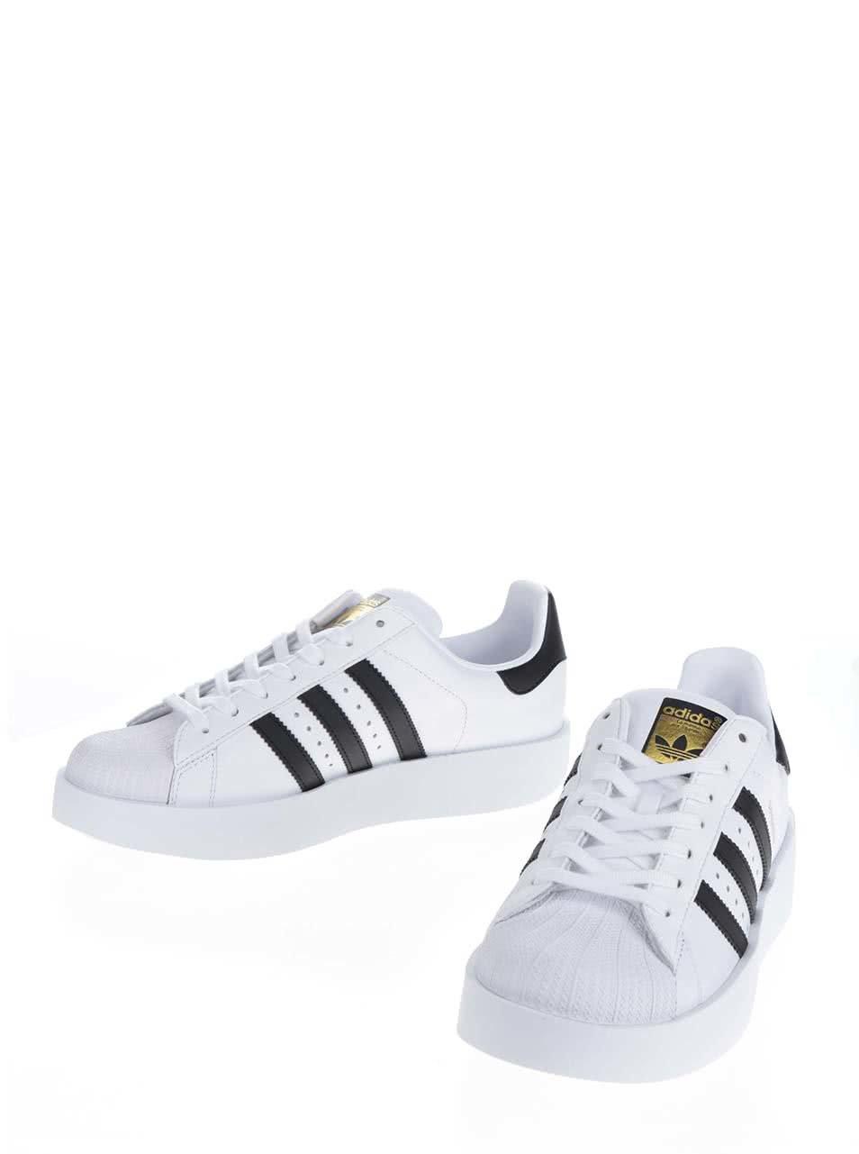 e38f098272b2 Biele dámske kožené tenisky na platforme adidas Originals Superstar ...