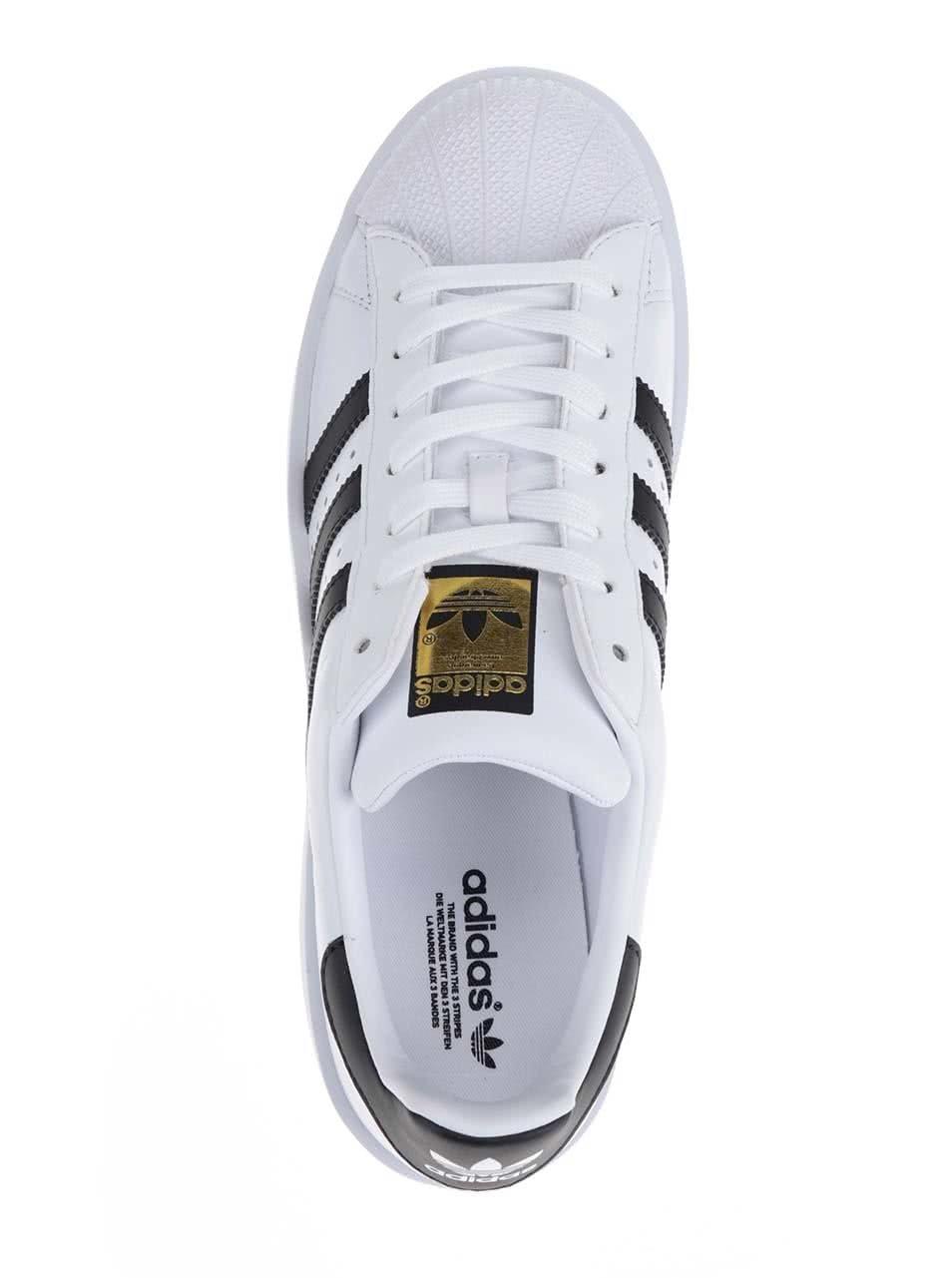 Bílé dámské kožené tenisky na platformě adidas Originals Superstar ... 93c47546a96