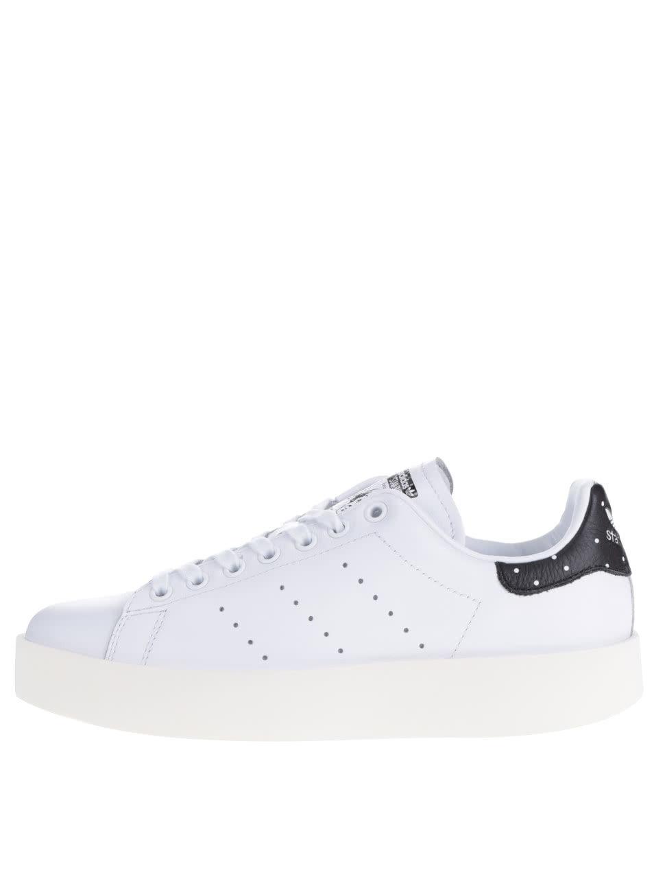 Biele dámske kožené tenisky na platforme adidas Originals Stan Smith ... 1ff05209223