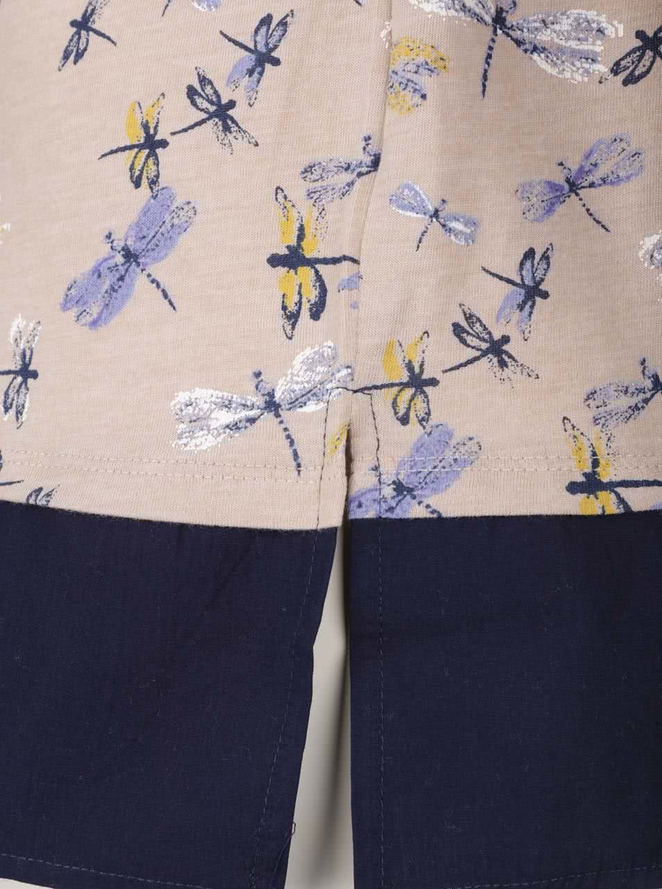 Modro-béžové dámské tričko s motivem vážek M Co ... 4e8dc0136f